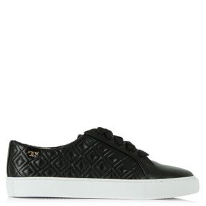 Tory Burch Marion Lace Up Black Leather Trainer 6